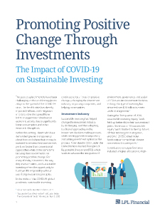 promoting sustainability through investments cover page